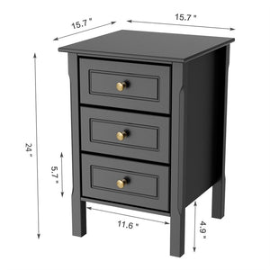 Wood 3-Drawer Nightstand