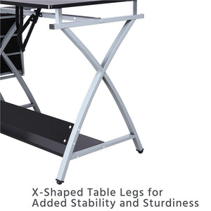 Adjustable Folding Drafting Table with Stool