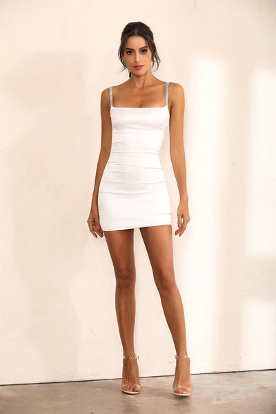 White Satin Bodycon Mini Dress with Shimmer Embellishments - Miss Floral