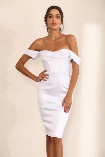 Off Shoulder Bodycon Dress In White Satin - Miss Floral