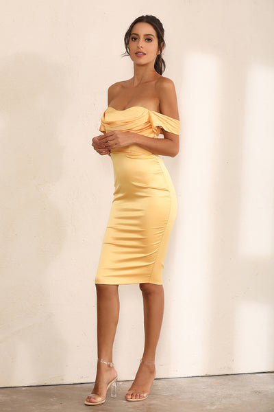 Off Shoulder Bodycon Dress In Yellow Satin - Miss Floral