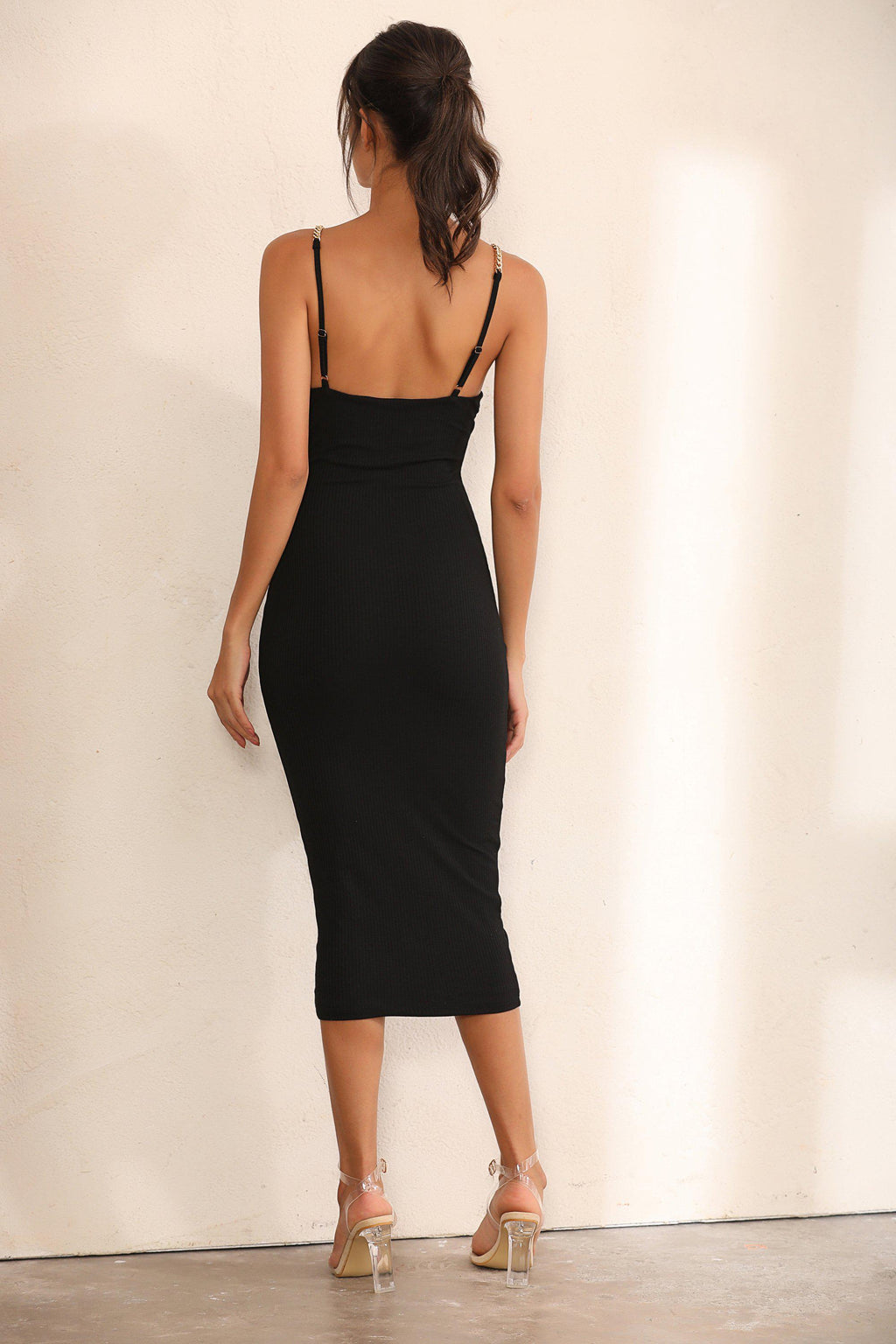 Chain Ribbed Bodycon Midi Dress In Black - Miss Floral