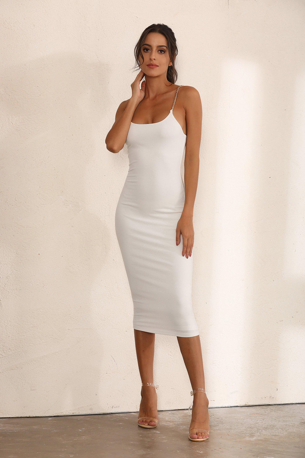 Chain Ribbed Bodycon Midi Dress In White - Miss Floral