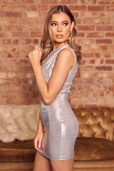 One Shoulder Cut Out Bodycon Mini Dress In Silver - Miss Floral