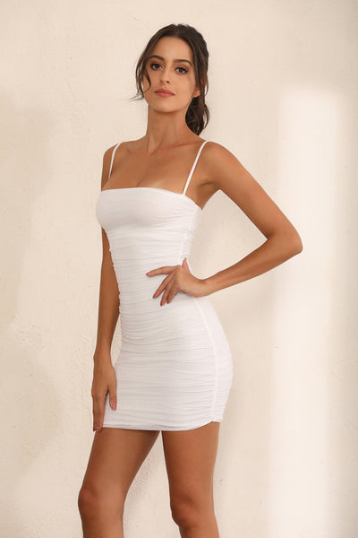 Ruched Mesh Bodycon Mini Dress In White - Miss Floral
