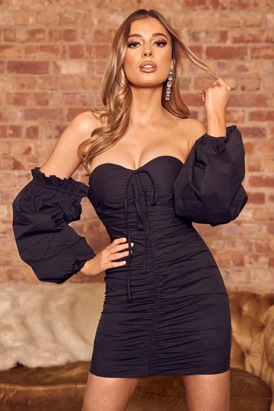 Off Shoulder Ruched Bodycon Mini Dress In Black - Miss Floral