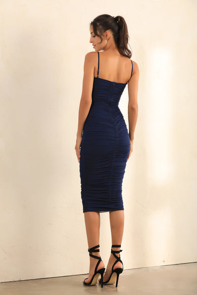 Ruched Mesh Bodycon Midi Dress In Navy