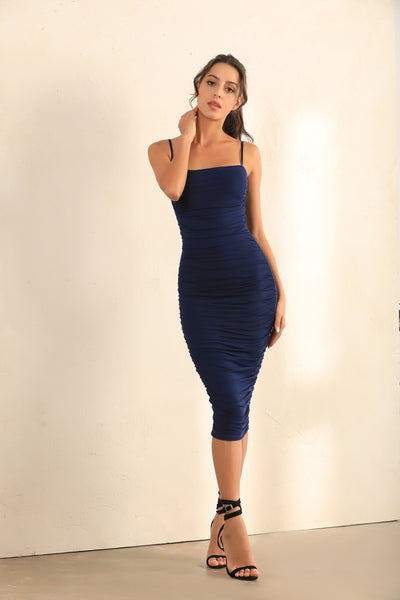 Ruched Mesh Bodycon Midi Dress In Navy - Miss Floral