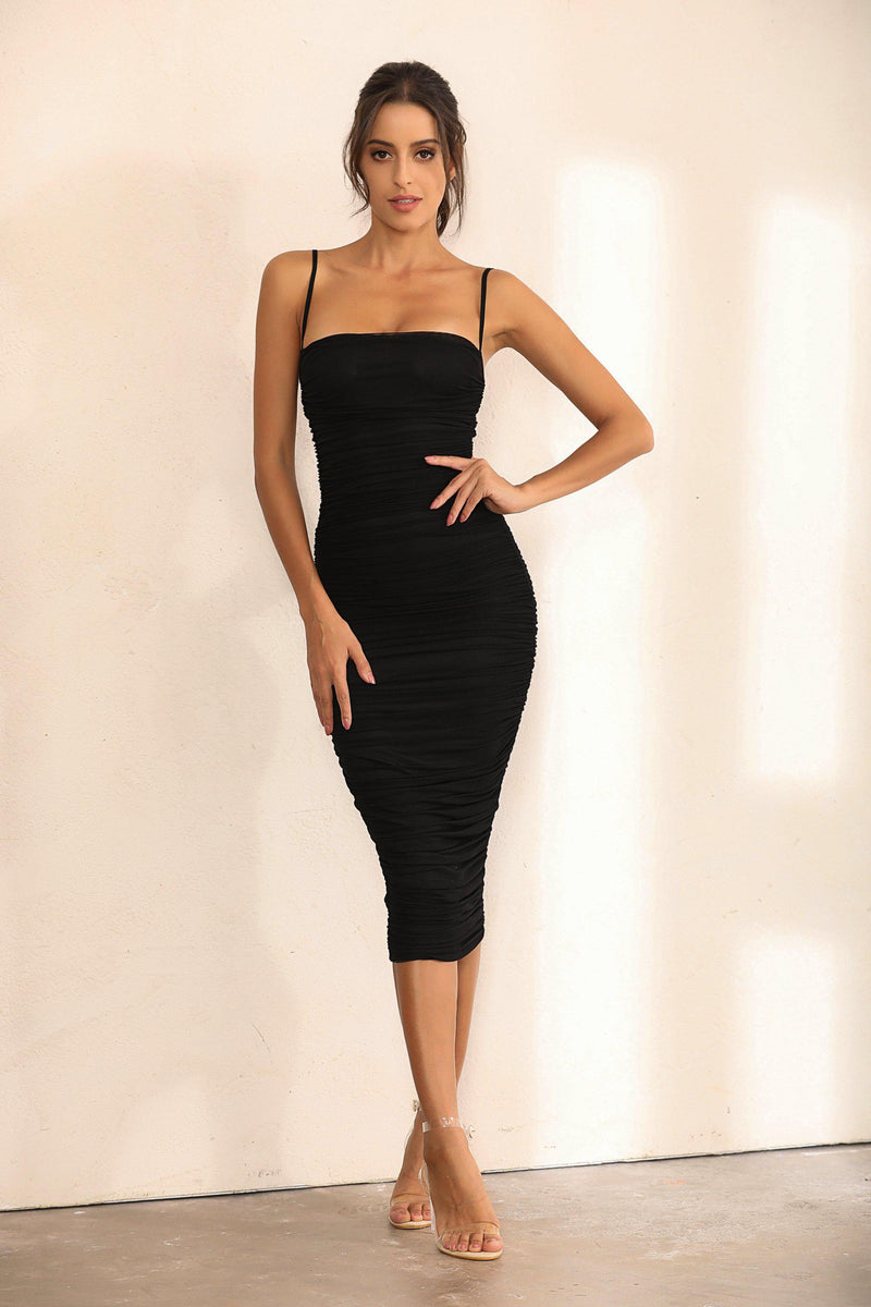 Ruched Mesh Bodycon Midi Dress In Black - Miss Floral