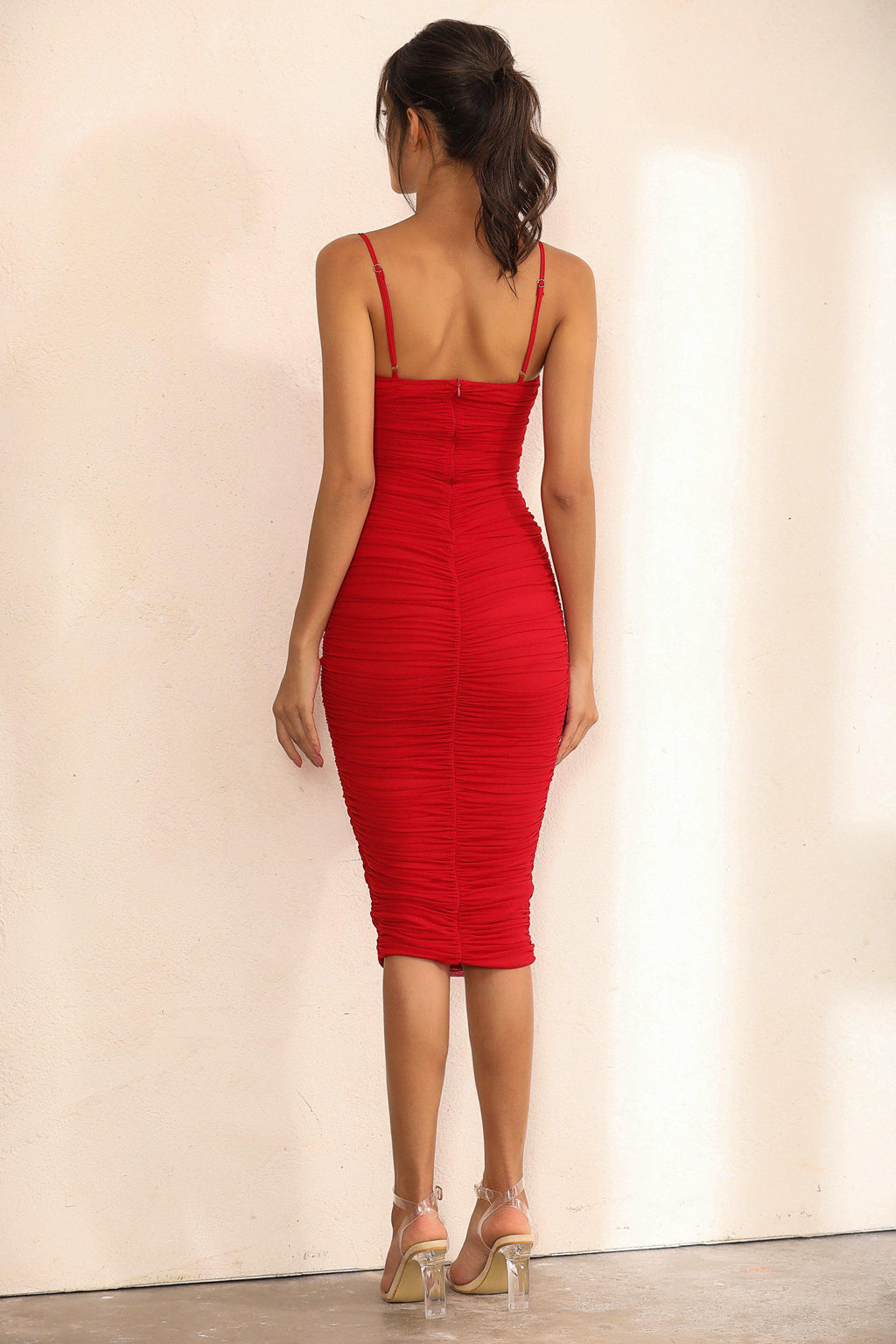 Ruched Mesh Bodycon Midi Dress In Red - Miss Floral
