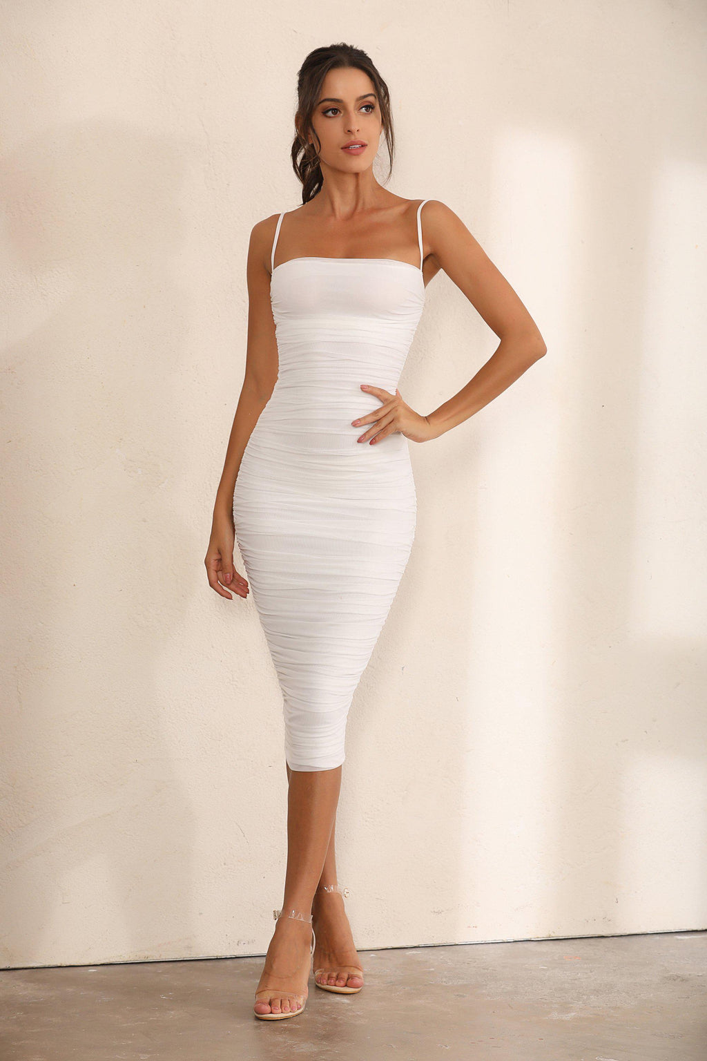 Ruched Mesh Bodycon Midi Dress In White - Miss Floral