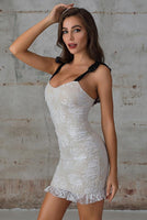 Knotted Strap Ruched Lace Bodycon Dress In White - Miss Floral