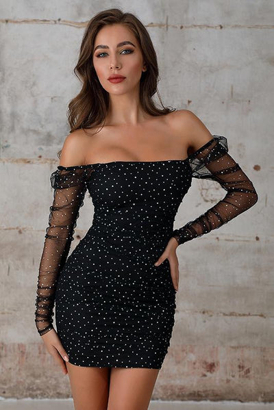 Off Shoulder Sequin Bodycon Mini Dress In Black - Miss Floral