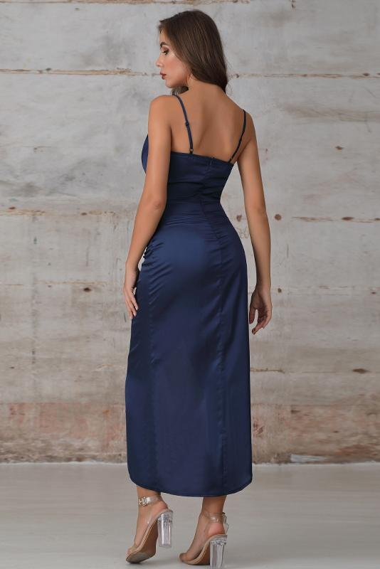 Satin Wrap Split Maxi Dress In Navy - Miss Floral