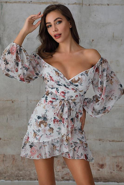 Off Shoulder Ruffle Wrap Mini Dress In White Floral Print - Miss Floral