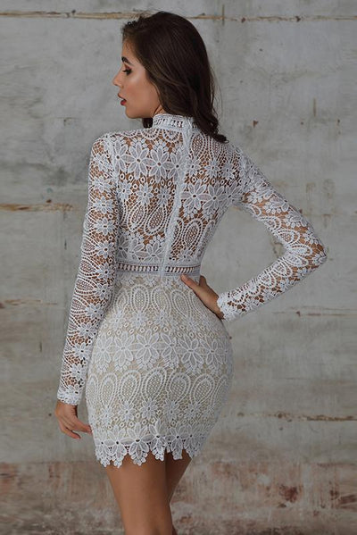 High Neck Openwork Lace Dress In White - Miss Floral