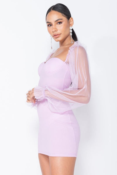 Lilac Sheer Sleeve Bodycon Mini Dress with Bustier Detail - Miss Floral