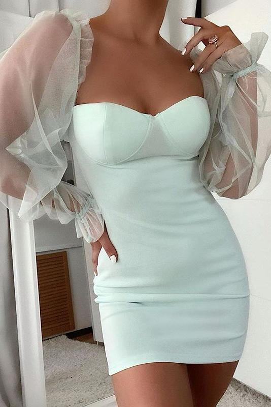 Mint Sheer Sleeve Bodycon Mini Dress with Bustier Detail - Miss Floral