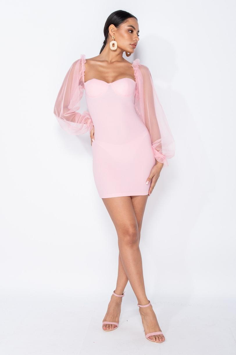 Pink Sheer Sleeve Bodycon Mini Dress with Bustier Detail - Miss Floral
