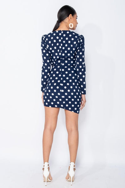Polka Dot Ruched Bodycon Mini Dress In Navy - Miss Floral