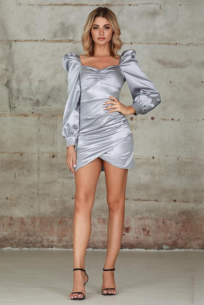 Ruched Puff Sleeve Satin Dress In Grey - Miss Floral