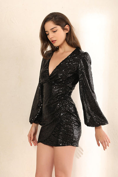 Sequin Wrap Balloon Sleeves Mini Dress In Black - Miss Floral
