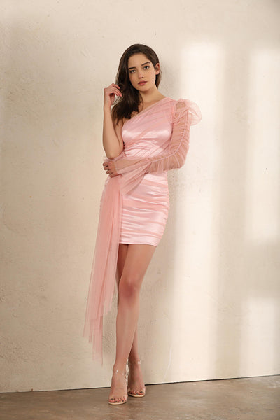 One Shoulder Sheer Mesh Ruched Mini Dress In Pink - Miss Floral
