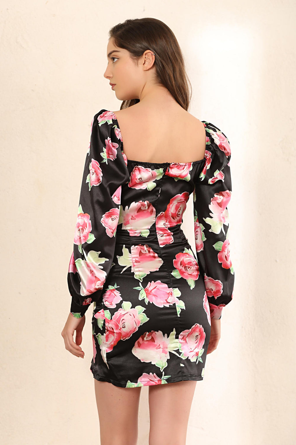Floral Print Puff Shoulder Mini Dress In Black - Miss Floral
