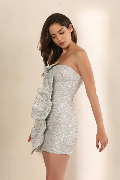 Sequin Strapless Bodycon Mini Dress In Holographic Silver - Miss Floral
