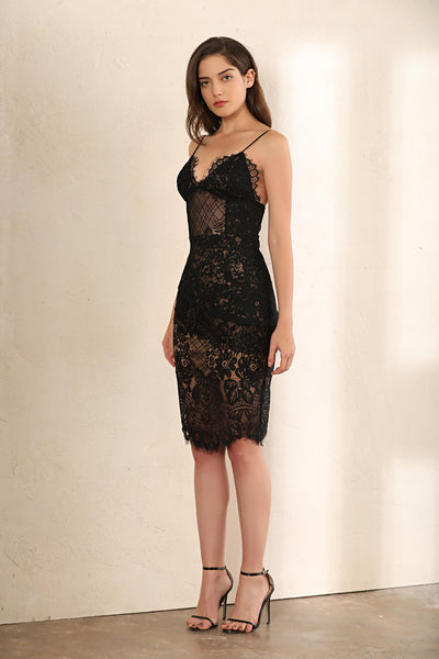 Leighton Tiered Lace Midi Dress In Black - Miss Floral