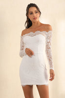 Lace Overlay Off Shoulder Bodycon Dress In White - Miss Floral