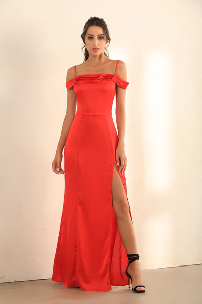Split Thigh Cami Maxi Dress In Red Satin - Miss Floral