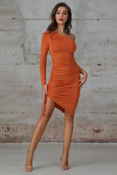 One Shoulder Ruched Bodycon Dress In Orange - Miss Floral