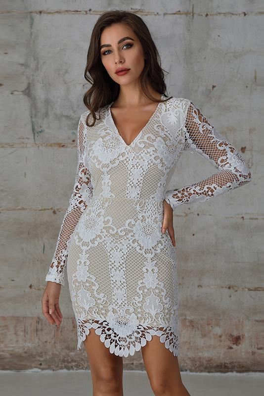 Guipure Lace Bodycon Dress In White - Miss Floral