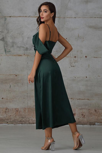 Maxi Dress with Draped Detail In Green Satin - Miss Floral