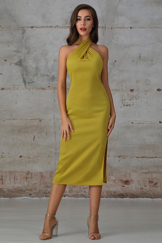 Midi Dress With Halter Neck In Yellow - Miss Floral