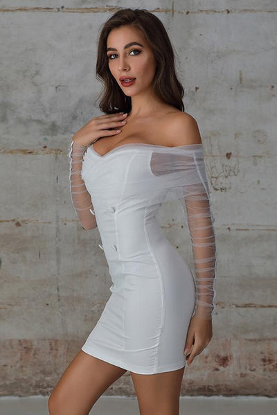 Off The Shoulder Bodycon Dress with Mesh Sleeves In White - Miss Floral