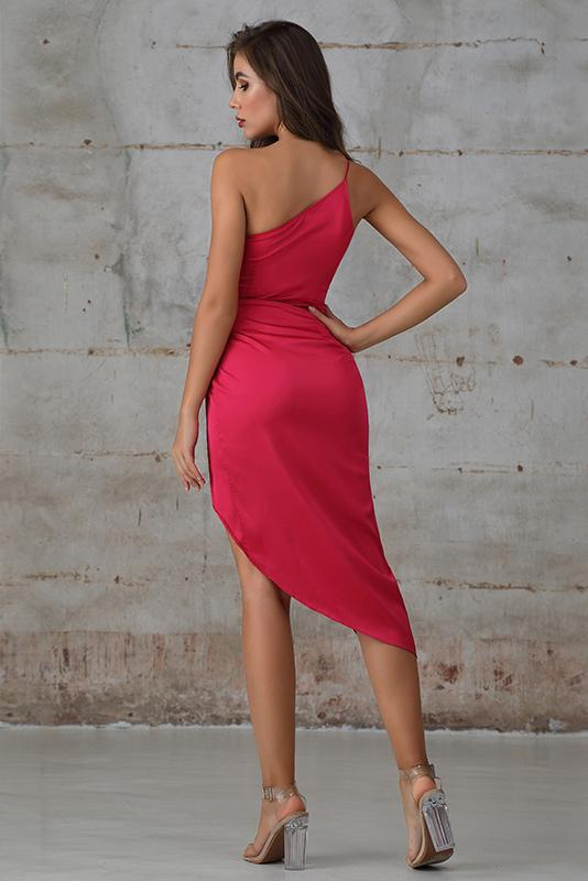 One Shoulder Dress With Asymmetric Hem In Hot Pink Satin - Miss Floral