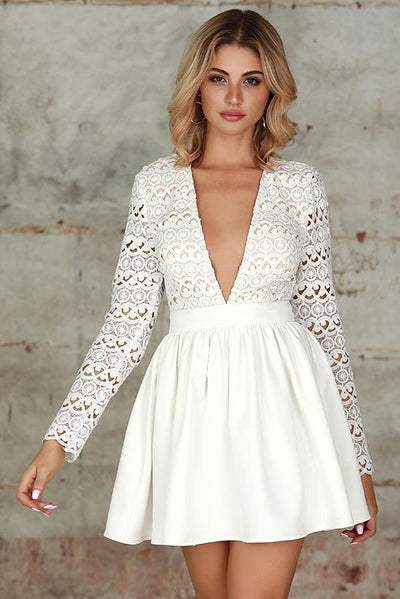 Plunge Guipure Lace Fit & Flare Dress In White - Miss Floral