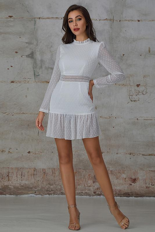 Mini Dress with Guipure Lace Insert In White Swiss Dot - Miss Floral