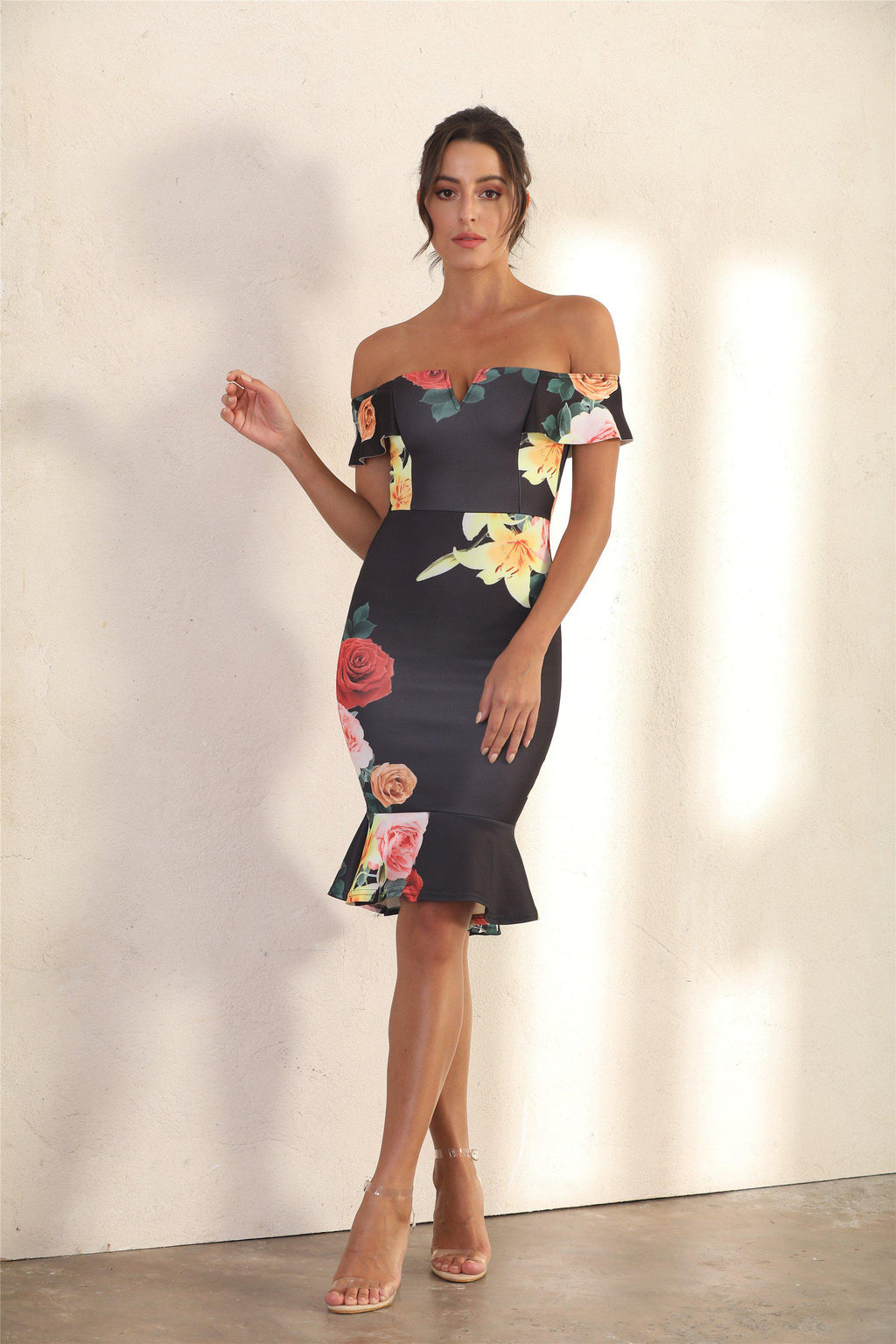 Bodycon Bardot Midi Dress In Black Floral - Miss Floral