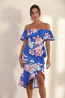 Bodycon Frill Bardot Midi Dress In Royal Blue Floral - Miss Floral