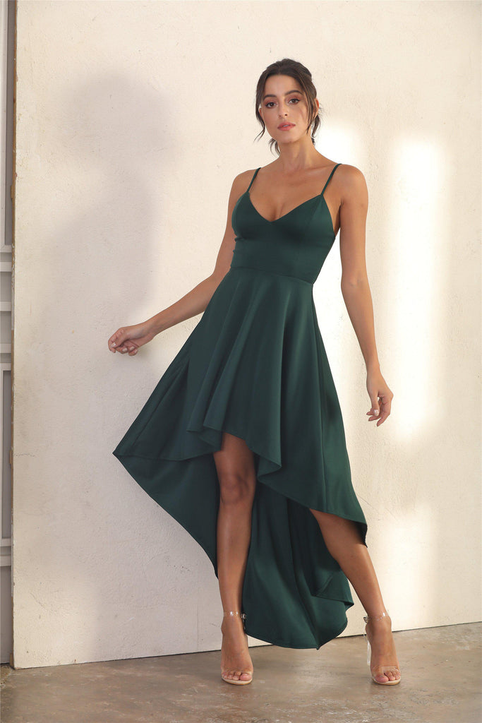 Spaghetti Strap Slip Dress With Ruffle Asymmetric Hem In Green - Miss Floral