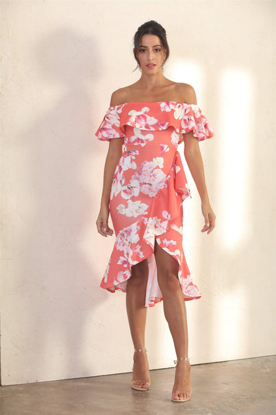 Summer Frill Bardot Midi Dress In Orange Floral - Miss Floral