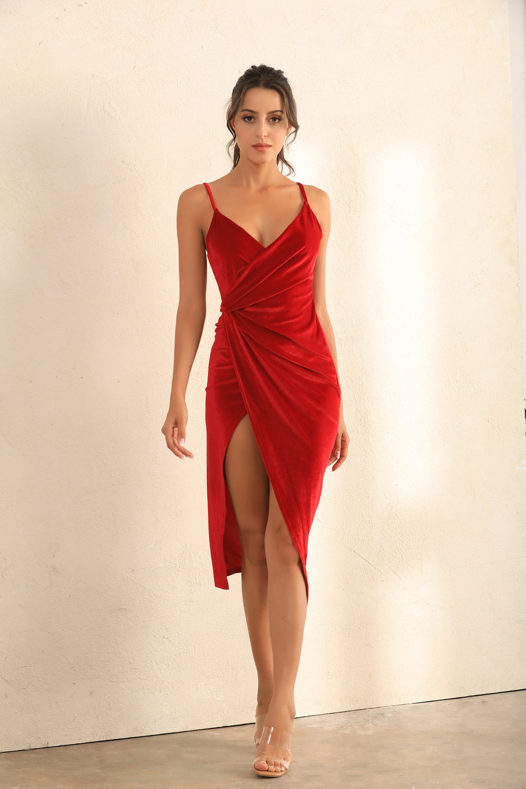 Plunge Velvet Wrap Cami Dress In Red - Miss Floral