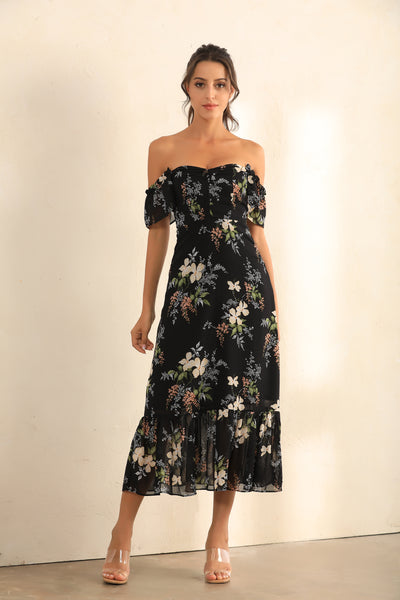 Floral Print Off Shoulder Bardot Ruffle Hem Midi Dress In Black - Miss Floral