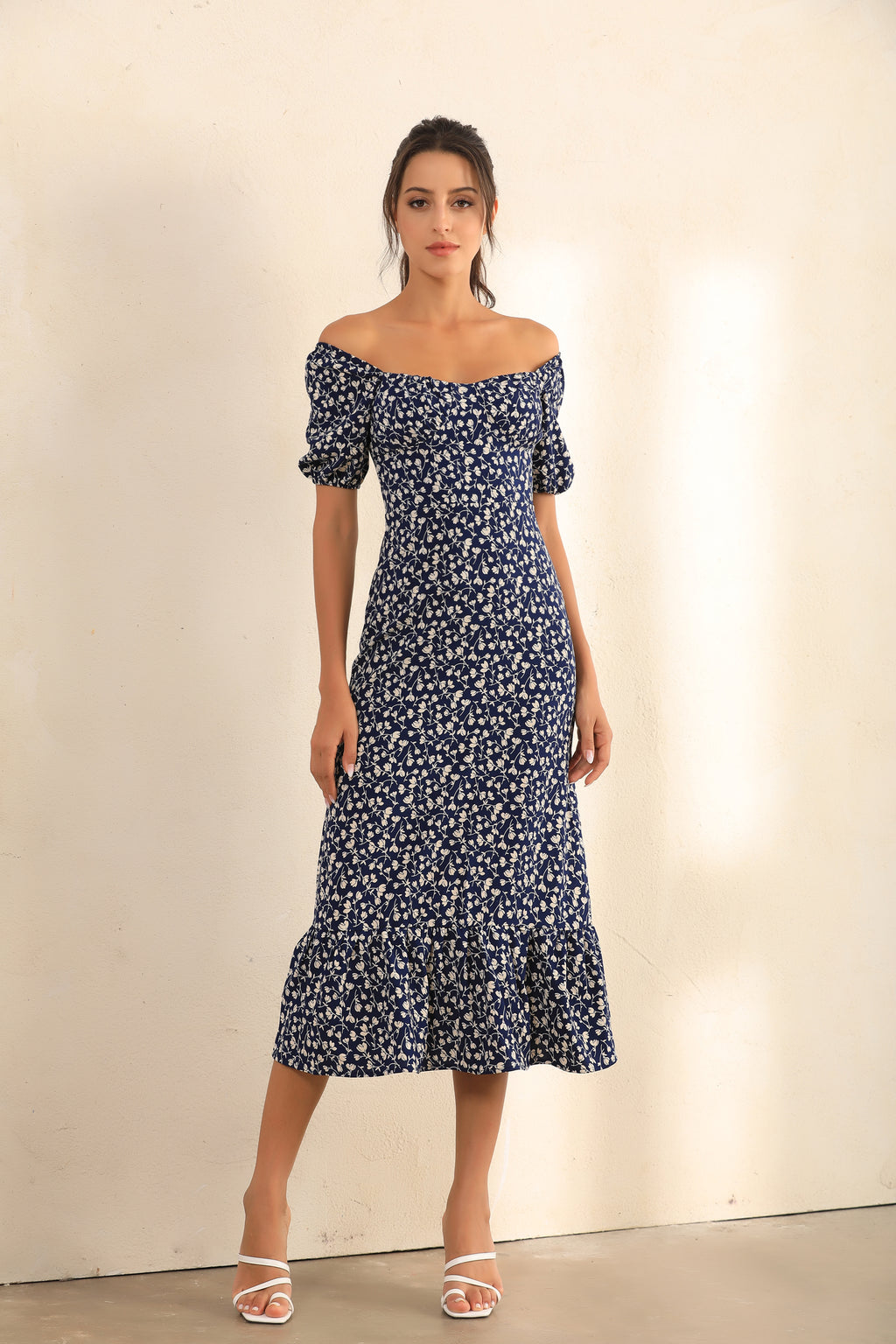 Floral Print Puff Shoulder | Bardot Ruffle Hem Midi Dress In Navy - Miss Floral