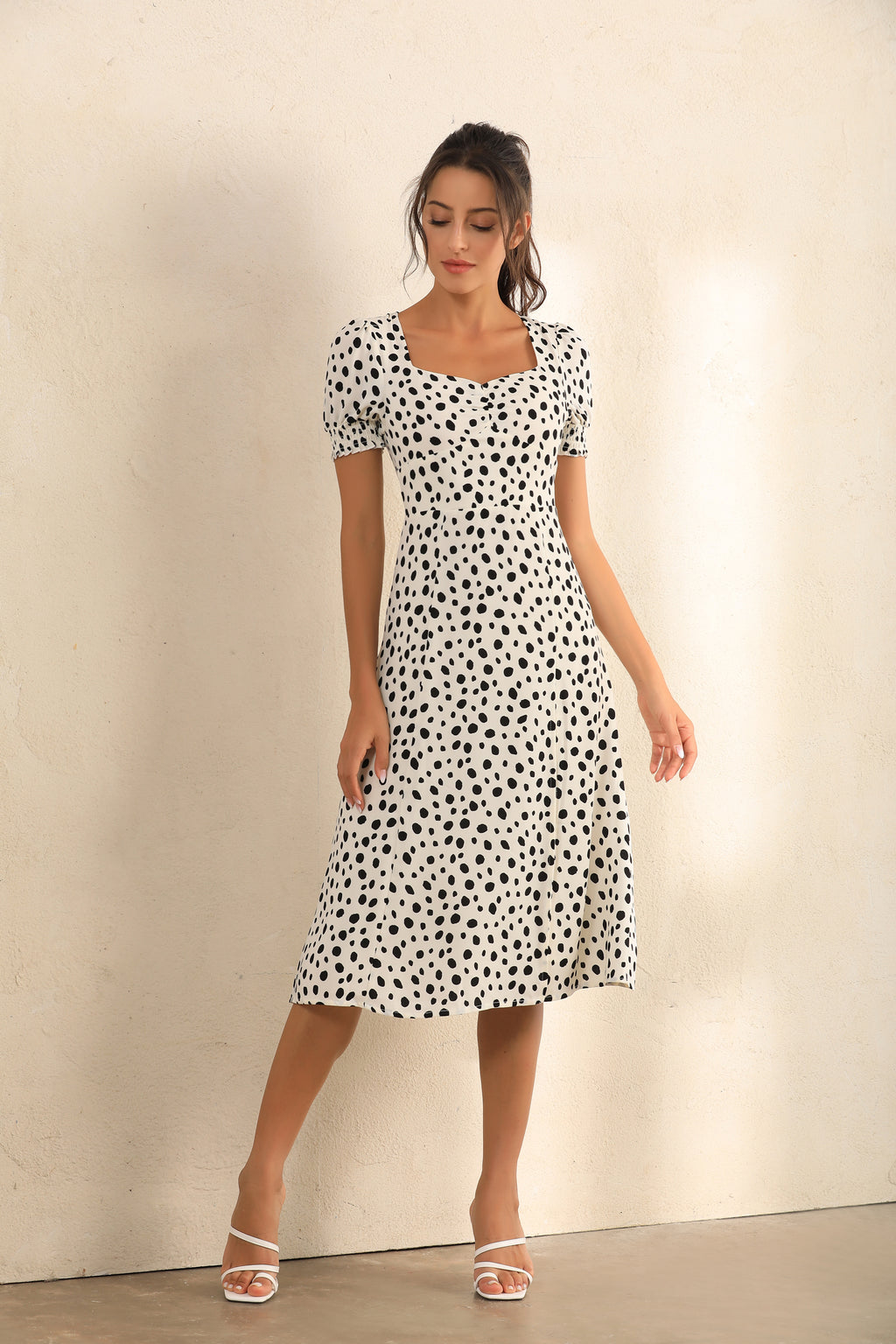 Dalmatian Spot Print Puff Shoulder Split Midi Dress In White - Miss Floral