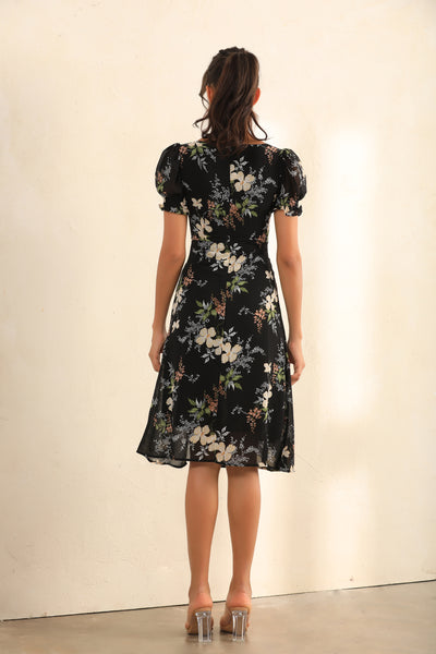 Floral Print Puff Shoulder Split Midi Dress In Black - Miss Floral