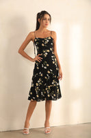 Floral Print Strappy And Spaghetti Strap Midi Dress In Black - Miss Floral